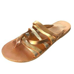 Ancient Greek Afea Metallic Slide Sandals 38 8